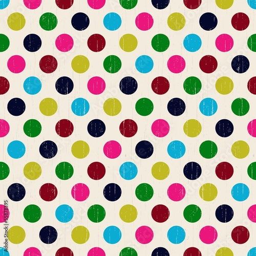 Naklejka seamless grunge circles polka dots background texture