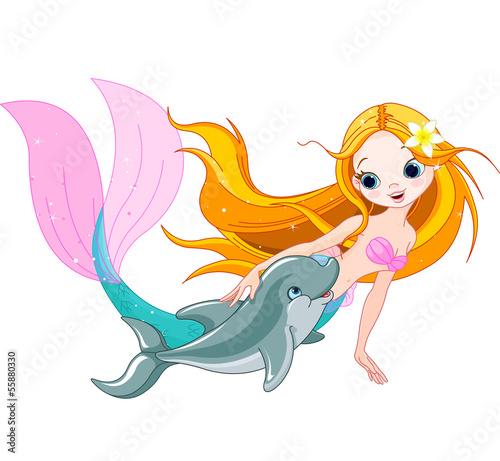 Tuinposter Zeemeermin Cute Mermaid and dolphin