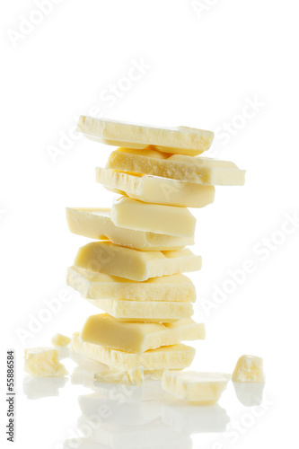 Staande foto Zuivelproducten Pieces of delicious white chocolate