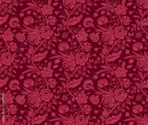 bordowy-wzor-z-bukietami-kwiatow-vintage