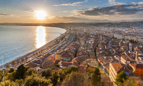 Spoed Foto op Canvas Nice View of Nice city - Cote d'Azur - France