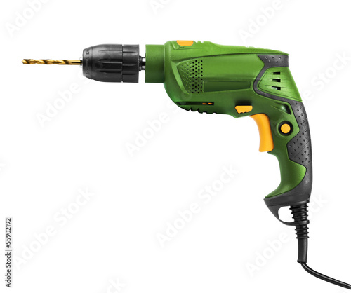 Fotografie, Obraz  Green electric drill isolated
