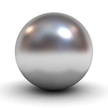 Metallic Chrome Sphere Over White Background