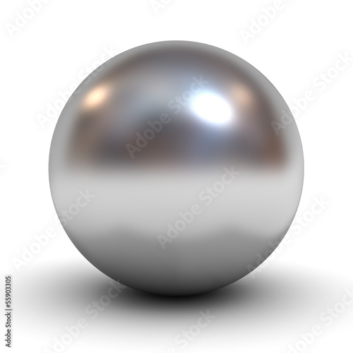 Cuadros en Lienzo Metallic chrome sphere over white background