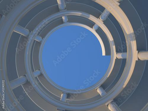 fototapeta na ścianę Circular stairway with blue sky in background