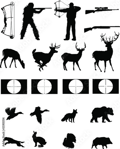 Hunters and the Hunted silhouettes collection Canvas Print