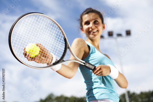 Girl Playing Tennis Wallpaper Mural
