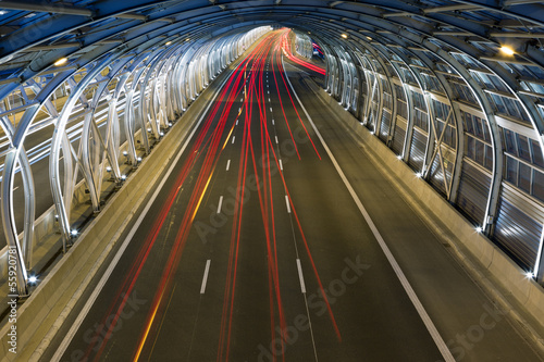 Modern tunnel and traffic #55920781