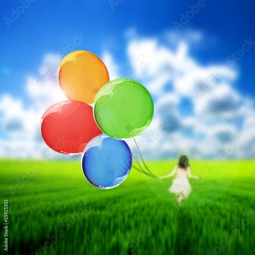 Foto op Plexiglas Groene Flying balloons