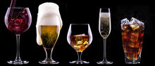 Alcohol Drinks Set Isolated On...