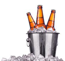 Beer Bottles In Ice Bucket Iso...