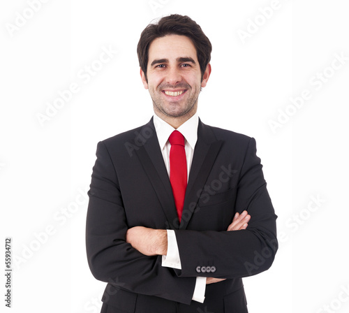 Fotografie, Obraz  Smiling young business man on white background