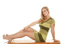 Woman Green Stripe Dress Sit Legs Out