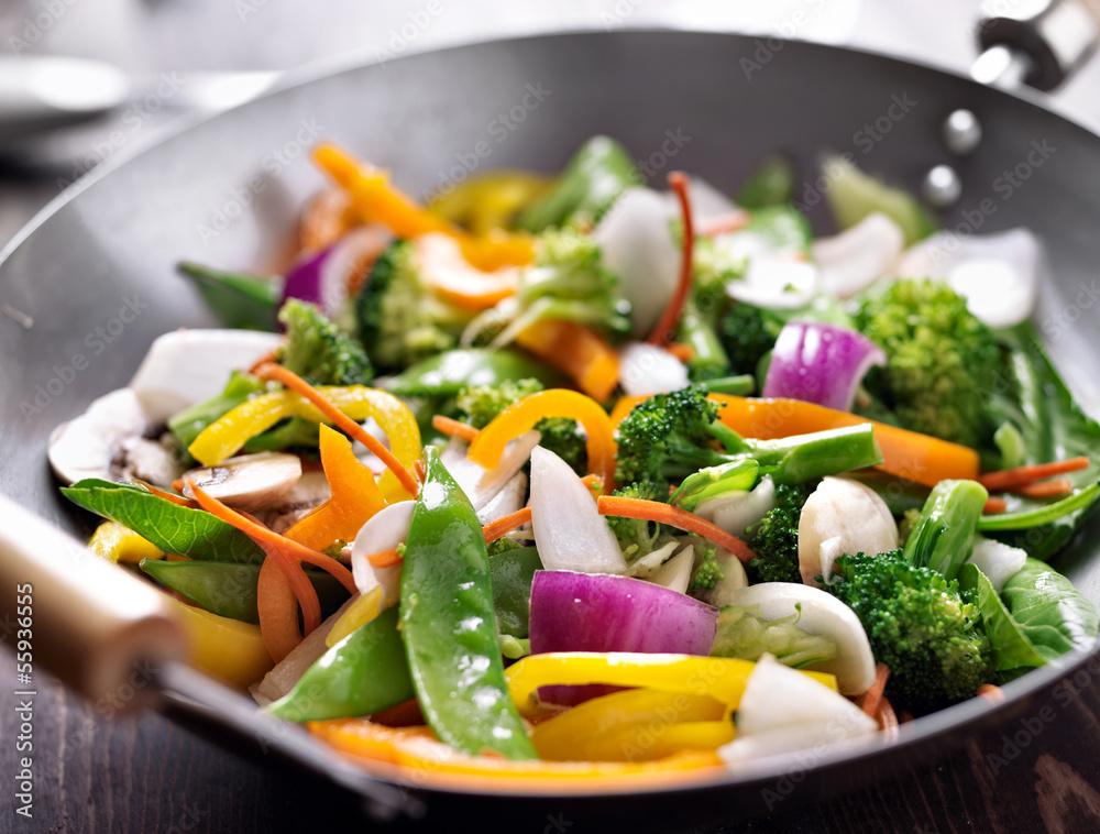 Photo  vegetarian wok stir fry
