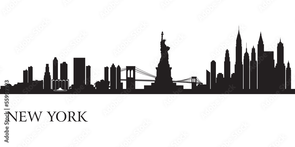 Fototapety, obrazy: New York city skyline silhouette background