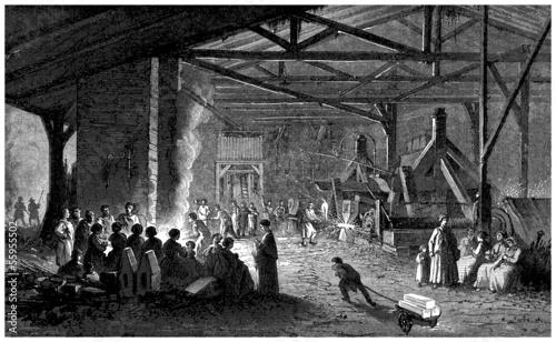 Fotografie, Obraz  Forge : Interior - 19th century