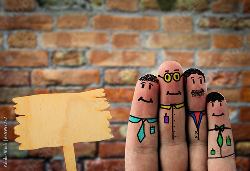 Fotografía  business fingerfigures with free wooden board