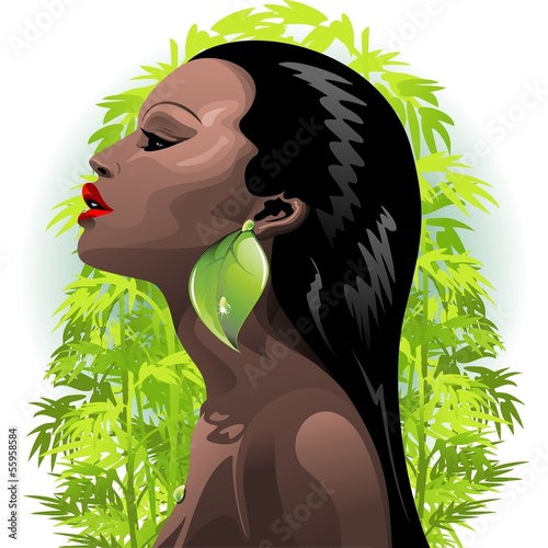 African Woman Beauty and Bamboo-Ritratto Bellezza Africana