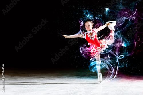 Foto-Flächenvorhang ohne Schienensystem - Little girl figure skating (von Sergey Nivens)