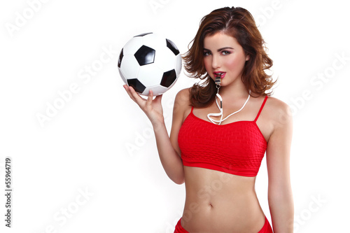 Photo  Beautiful Holding a Soccer Ball on White Backgound