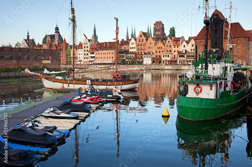 Fototapety, obrazy: Old Town of Gdansk Skyline and Marina
