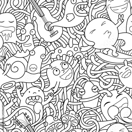 Funny monsters seamless pattern