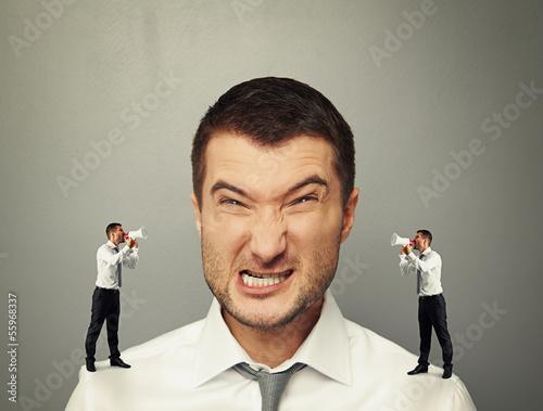 Fotografie, Obraz little men screaming at big angry man