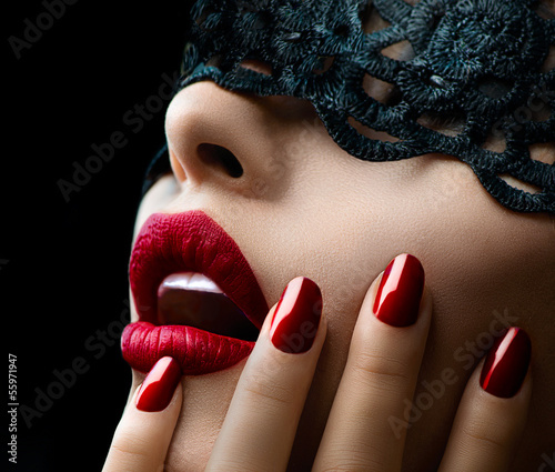 Poster Foto van de dag Beautiful Woman with Black Lace mask over her Eyes