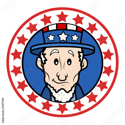 Photo  Circular Design with Abraham Lincoln Wearing Uncle Sam Hat