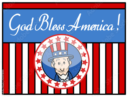 Photo  God Bless America - Uncle Sam - Background Vector