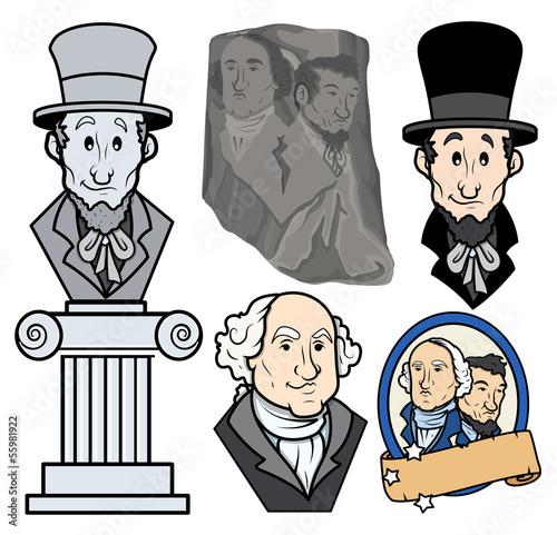 Photo  USA Presidents George Washington & Abraham Lincoln Clip-art