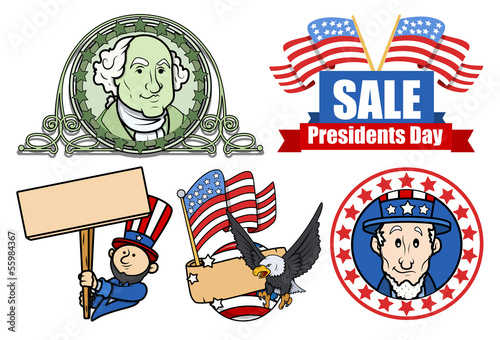 Photo  Presidents Day USA 4th of July Theme Vector Set