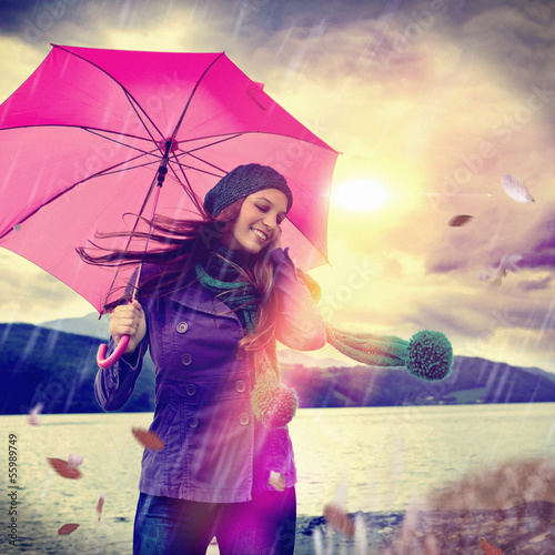 Fotografie, Obraz  a walk in the rain / pink umbrella 01