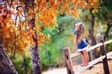 Pretty Little Girl Relax On Beauty Autumn Landscape Background
