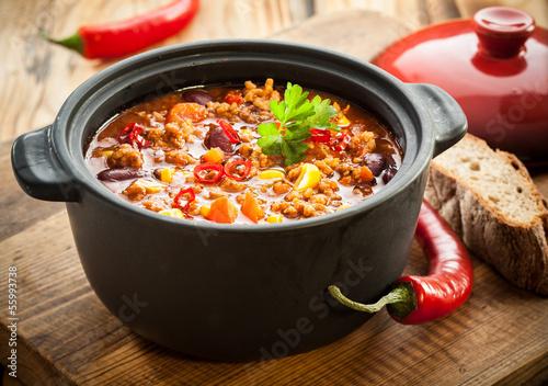 Tasty spicy chili con carne casserole Canvas Print