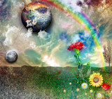 Enchanted landscape with rainbow