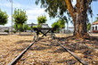 Vía férrea, ferrocarril, tope de vía, hierro, Don Benito