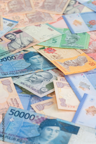 Asian currencies close-up of India, Indonesia and Malaysia