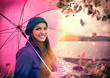 canvas print picture Mädchen mit Schirm im Regen / pink umbrella 02