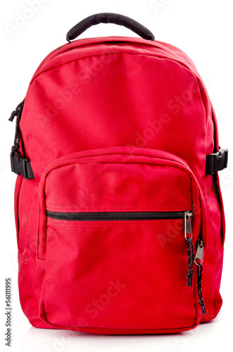 Obraz Red backpack standing on white background - fototapety do salonu