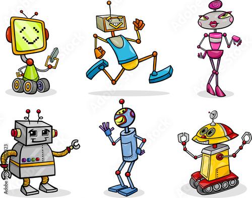 roboty-lub-droidy-kreskowka-zestaw-ilustracji