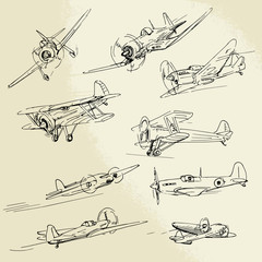 Fototapetahand drawn airplanes