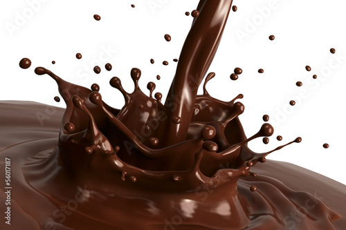 Fotografía  Hot chocolate splash close-up, isolated on white background.