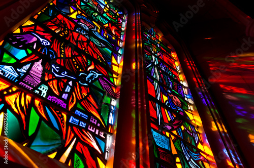 Fotografie, Obraz Lights come through the stained glass window