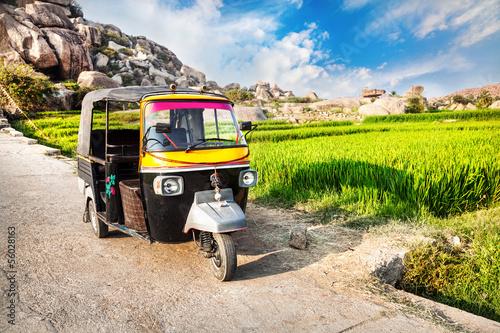 Fotografie, Obraz  Auto rickshaw near rice plantation