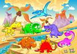 Fototapeta Dino - Dinosaurs rainbow in landscape.