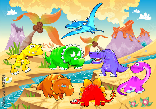 Dinosaurs rainbow in landscape. Poster
