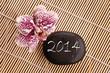 2014, galet gravé et orchidée