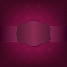 Seamless Pattern With Burgundy Ribbon And Frame