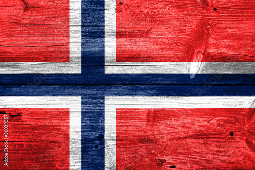 Photo Norway Flag painted on old wood plank background